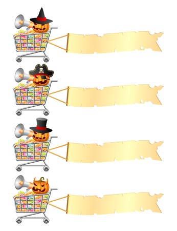 Halloween pumpkins shouting in megaphone and sitting in shopping carts with sweetmeat and banner  Halloween shopping theme  Isolated illustration