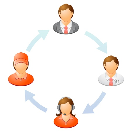 The interaction of the staff  Teamwork flow chart  Network of people illustration Stock Vector - 21490258