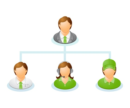 management system: Teamwork flow chart  Network of people  The hierarchical diagram  The hierarchical organization management system illustration