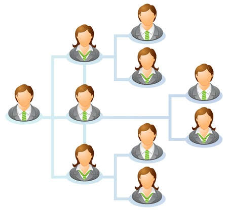 management system: Teamwork flow chart  Network of people  The hierarchical diagram  The hierarchical organization management system  illustration   Illustration