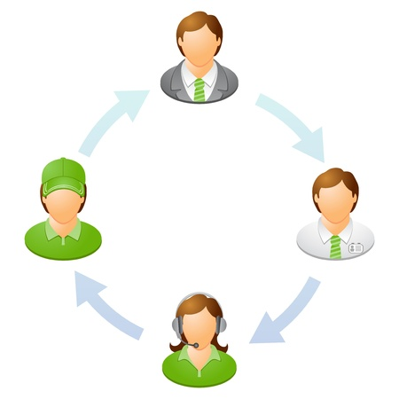 The interaction of the staff  Teamwork flow chart  Network of people  Vector illustration