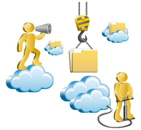 icloud: Human standing on a cloud and shouting in megaphone  Isometric human uploads the files to the cloud  Vector illustration  Illustration