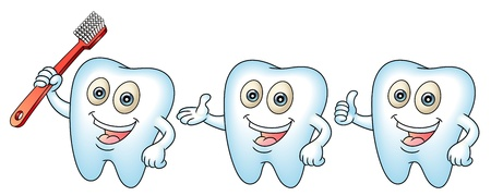 tooth fairy: Smiling tooth mascot with a tooth-brush