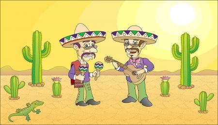 wildwest: Divertente messicano musicista fumetto illustrazione Vettoriali