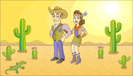 Sheriff and beauty lady illustration  Vector