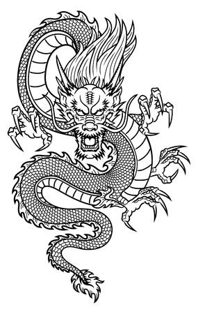 cabeza de dragon: Drag�n asi�tico tradicional Vectores