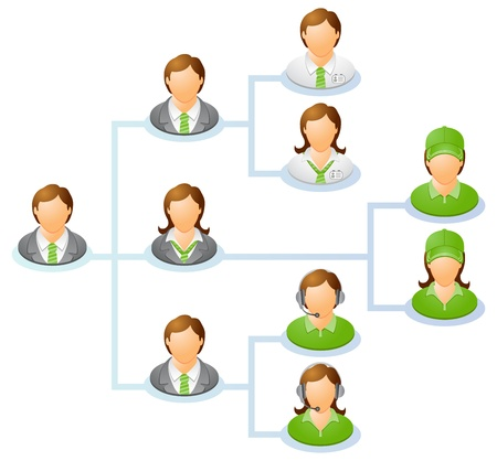 Teamwork flow chart  Network of people  The hierarchical diagram.  The hierarchical organization management system Vector