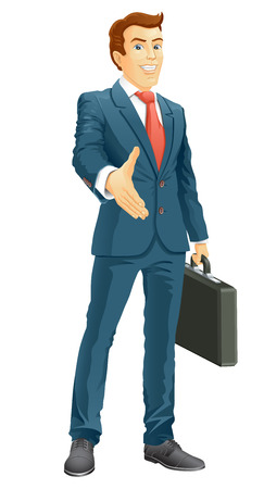 Smiling businessman gives a hand for a handshake  Businessman gives a hand for the welcome  Vector illustration  Vector