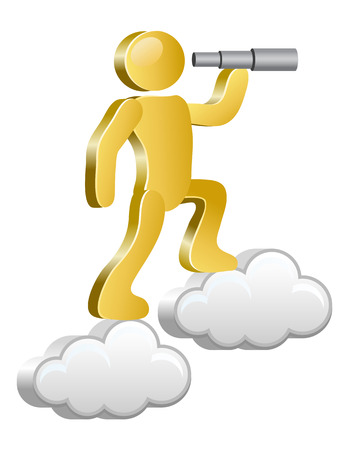 flying money: Human searching with spyglass  Isometric human on a cloud  Vector Illustration