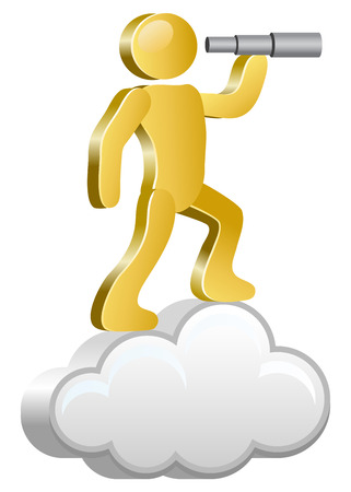 Human searching with spyglass  Isometric human on a cloud  Vector Illustration
