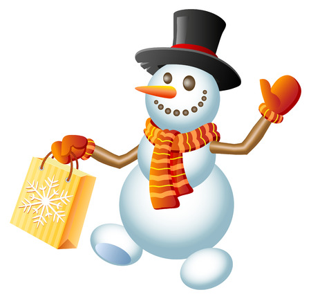 A happy snowman with Christmas shopping bag  Vector illustration  Vector