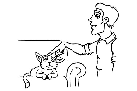 The owner of petting a cat  Vector illustration Stock Vector - 23709615