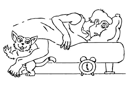 Cat wakes her owner   Illustration