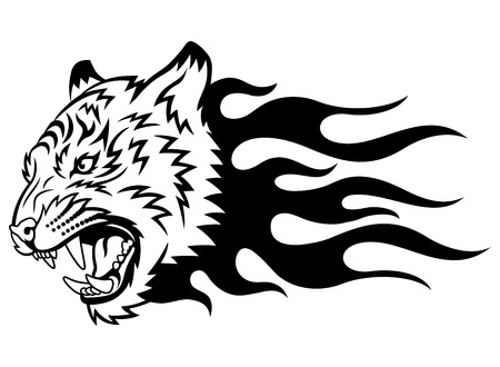 roaring tiger: Head of a tiger in tongues of flame in the form of a tattoo