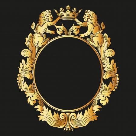 Heraldic floral frame  Vector