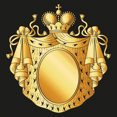 Heraldic shield  Royal mantle and crown  Vector Illustration  Vector