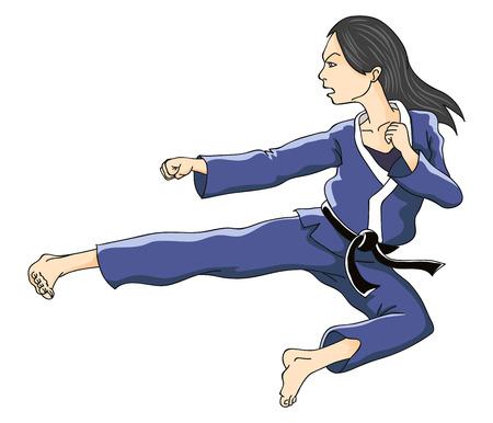 Woman performing flying kick  Vector illustration  Illustration