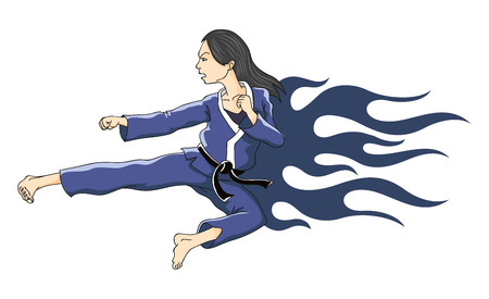 female athlete: Woman performing flying kick  Karate girl in tongues of flame in the form of a tattoo  Vector illustration