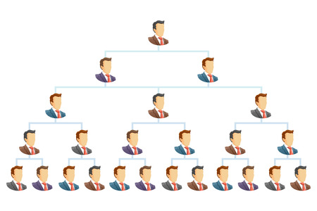 Teamwork flow chart   The hierarchical organization management system  Vector illustration   Ilustração