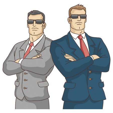 the guard: Security service  Two strong men in suits  Vector illustration