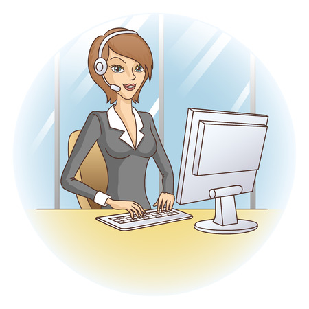 callcenter: Call-center girl  Customer service representative  Support in office  Vector illustration