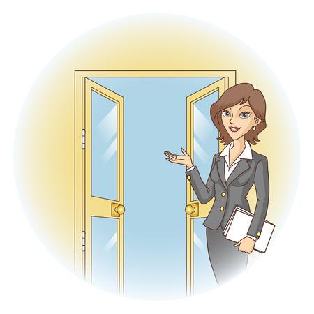 doorframe: Bienvenidos en la puerta abierta ilustraci�n vectorial Bienvenida a los invitados Vectores