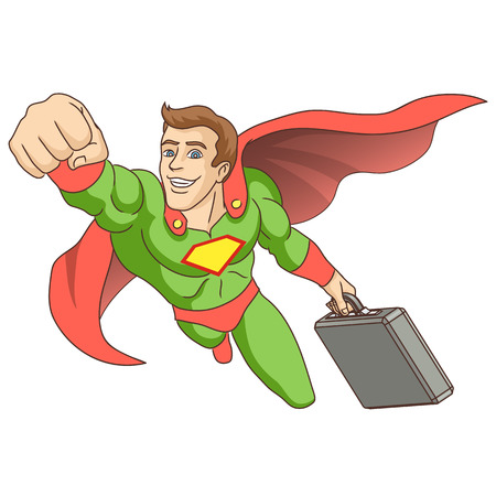 super man: A man dressed as a super hero  Super hero, in whose hands is the briefcase, is flying ahead  Vector illustration