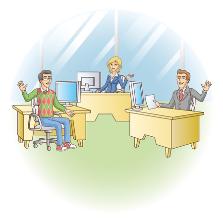 Office workers at the workplace  Vector illustration