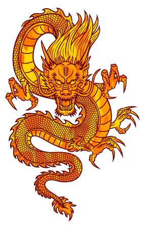 전통적인 아시아 드래곤이 마스코트 문신 또는 T-셔츠 그래픽 벡터 일러스트 레이 션에 이상적입니다 일러스트