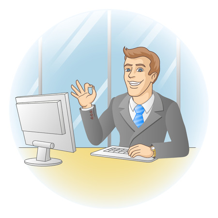 teaching adult: Businessman working in office  In the workplace  Smiling businessman shows that all is okay  Vector illustration