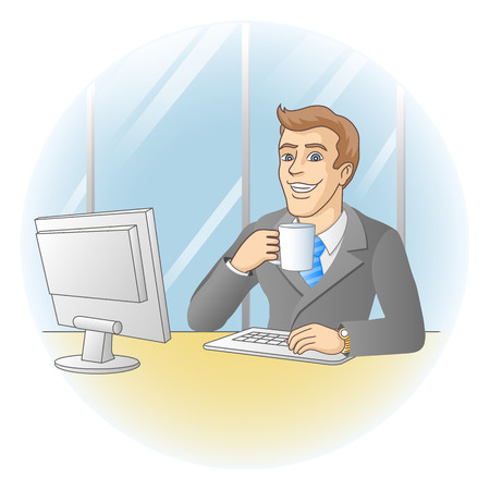 Uomo d'affari che lavora in ufficio In Imprenditore sul posto di lavoro beve caffè illustrazione vettoriale Archivio Fotografico - 24754081
