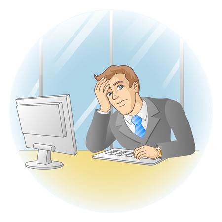tiredness: Businessman working in office  In the workplace  Thinking or tired man  Vector illustration