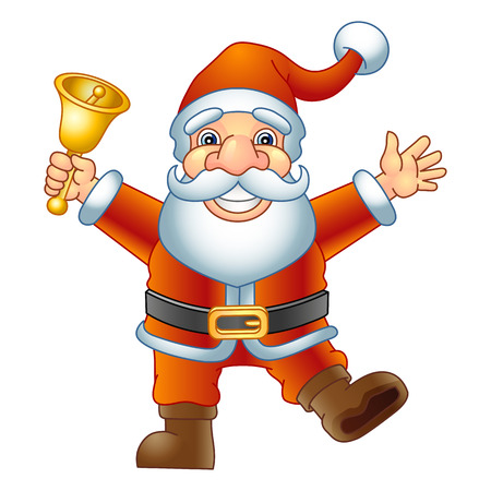 handbell: Merry Christmas, Ho-Ho-Ho  Santa Claus with a handbell  Vector illustration  Illustration