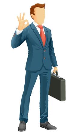 OK! Anonymous businessman show a okay hand sign. Vector illustration. Illustration
