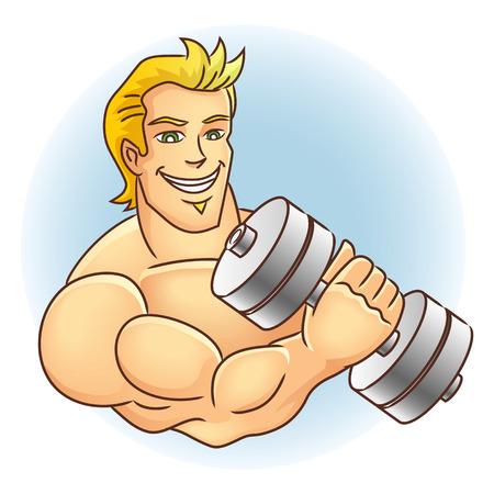 crossbar: Man Holding Dumb Bell  Muscular arm  Vector illustration