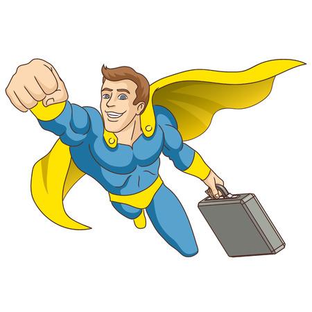Un hombre vestido como un superhéroe, en cuyas manos está el maletín, está volando por delante ilustración vectorial