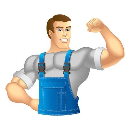 ropa trabajo: Hombre muscular en ropa de trabajo ilustraci�n vectorial Vectores