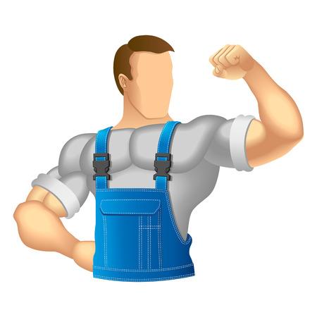 ropa trabajo: Hombre musculoso Anonymous en ropa de trabajo ilustraci�n