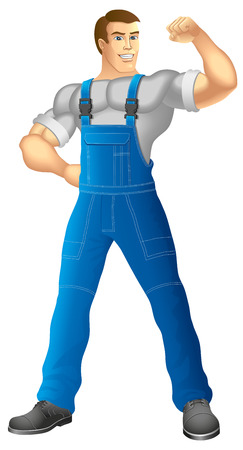 Muscular man in work clothes Vector illustration Vetores