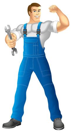 ropa trabajo: Hombre muscular en ropa de trabajo mec�nico o manitas en ropa de trabajo la celebraci�n de una llave de ilustraci�n vectorial