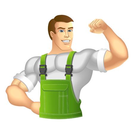 ropa trabajo: Hombre muscular en ropa de trabajo ilustraci�n
