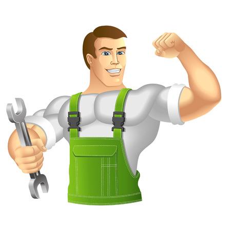 ropa trabajo: Hombre muscular en ropa de trabajo mec�nico o manitas en ropa de trabajo la celebraci�n de una ilustraci�n llave