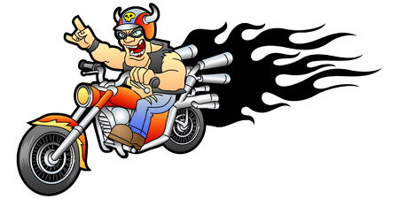 Cool biker rides on a motorcycle  Vector illustration