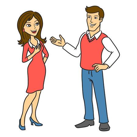 cartoon mensen: De man praat met een vrouw Twee mensen praten zaken illustratie