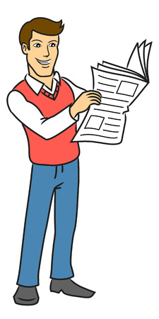 newspaper cartoons: The man with the newspaper illustration  Illustration