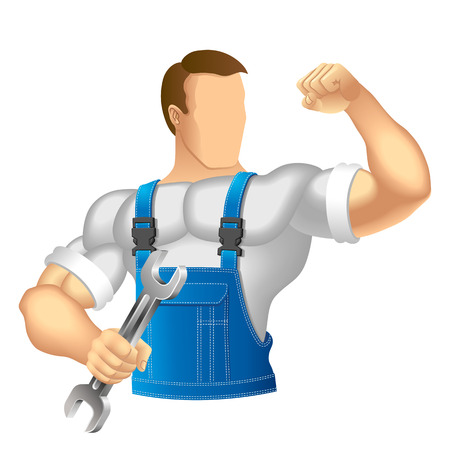 Anonymous muscular man in work clothes  Mechanic or handyman in work clothes holding a spanner  Vector illustration  向量圖像