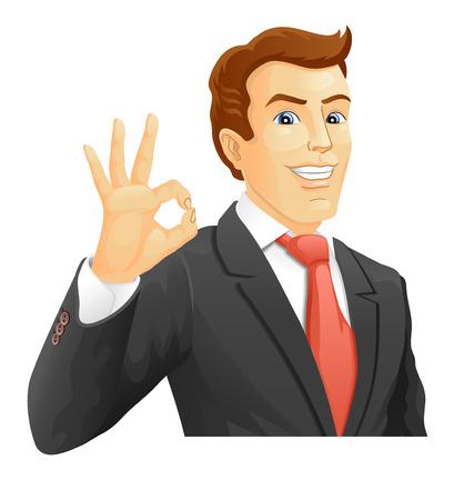 OK  Smiling businessman show a okay hand sign  Vector illustration