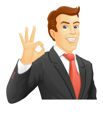 okay sign: OK  Smiling businessman show a okay hand sign  Vector illustration