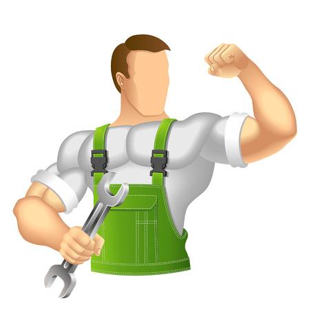 ropa trabajo: Hombre musculoso Anonymous en ropa de trabajo mec�nico o manitas en ropa de trabajo la celebraci�n de una llave de ilustraci�n vectorial