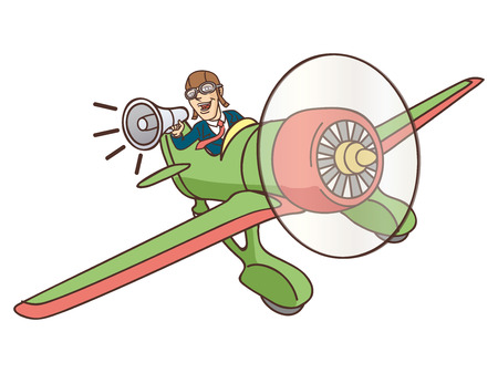 Businessman flying on a plane and shouts in loudspeaker  Vector illustration